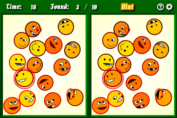 Find out the differences among the smileys.
