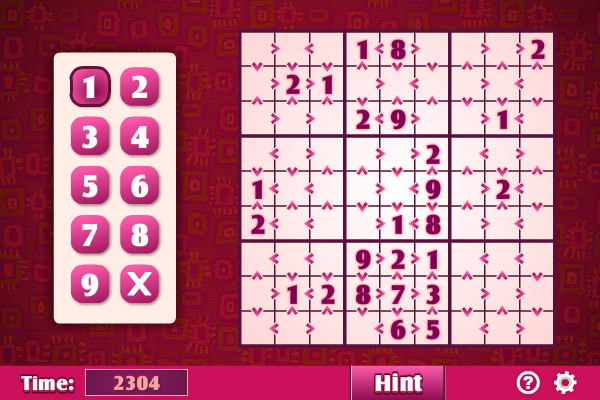 Click to view Greater Than Sudoku 1.2.0 screenshot